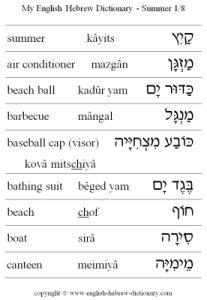 English - Hebrew Summer Vocabulary